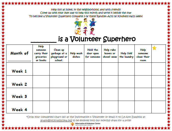 Super Hero Volunteer Chart